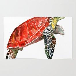 Sea Turtle red green turtle design, trutle illustration Rug