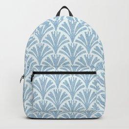Faux Velvet Fan Pattern In Blue on White Backpack
