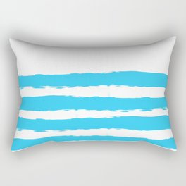 Simply hand-painted teal stripes on white background - Mix & Match Rectangular Pillow