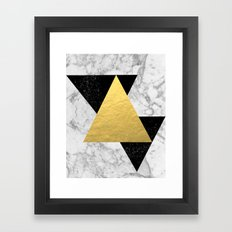 Marble Tri Black & Gold - gold foil, gold, marble, black and white, trendy, luxe, gold phone Framed Art Print