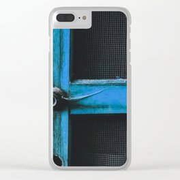 closeup old blue vintage wood door texture background Clear iPhone Case