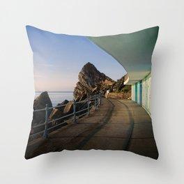 Meadfoot Beach Huts Throw Pillow
