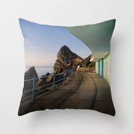 Meadfoot Beach Huts Throw Pillow