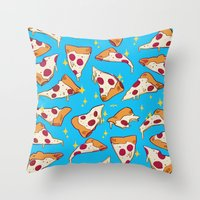 pizza Throw Pillows featuring pizza by Erin Lowe