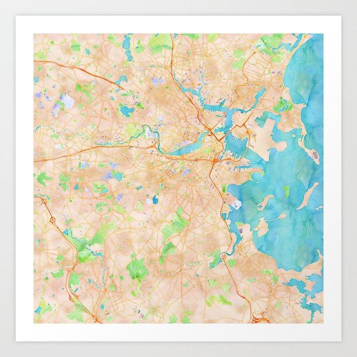 Boston region watercolor map Art Print