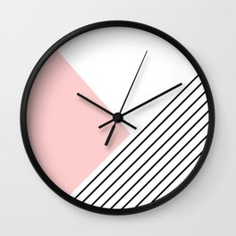 Pink angles and stripes Wall Clock