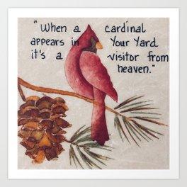 Cardinal Art, Cardinal Painting, Bird Art, Small Art, Cardinal Oil Painting, Stone Tile, Painting on Art Print