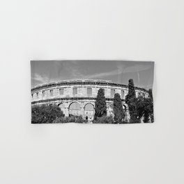 arena amphitheatre pula croatia ancient black white Hand & Bath Towel