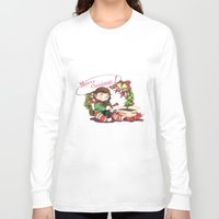 hiccup Long Sleeve T-shirts featuring Merry Christmas from Hiccup and Toothless by Clgtart