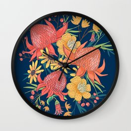 Australian Florals on Blue Wall Clock