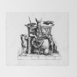 Odin on his throne Huginn Muninn ravens Viking Sagas Throw Blanket