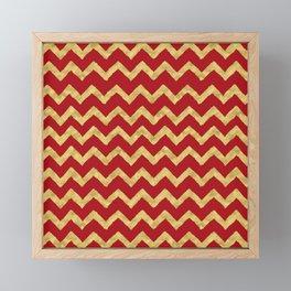 Chevron Red Gold Framed Mini Art Print