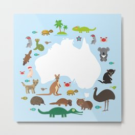 map of Australia. Echidna Platypus ostrich Emu Tasmanian devil Cockatoo parrot Wombat snake turtle Metal Print