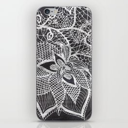 White hand drawn floral lace black chalkboard iPhone Skin