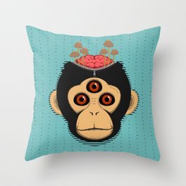 3rd Eye Chimp & Psychedelic Mushrooms Throw Pillow