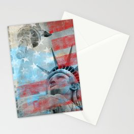 Lady Liberty Stars and Stripes Patriotic Artwork Stationery Cards