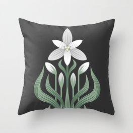 Drawing of a flower in art Deco style on a gray background. Ornithogalum umbellatum, the garden star-of-Bethlehem, grass lily, nap-at-noon, or eleven-o'clock lady. Throw Pillow