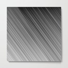 Black and White Diagonal Stripe Metal Print
