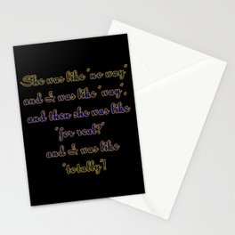"Funny ""Valley Girls"" Joke Stationery Cards"