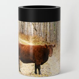 Cow in aspens Can Cooler