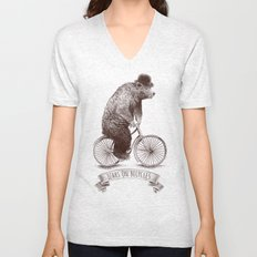 Bears on Bicycles Unisex V-Neck