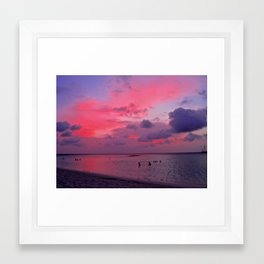 Swimming Towards Sundown Framed Art Print