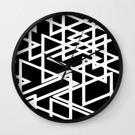 Interlocking White Triangles Artistic Design Wall Clock