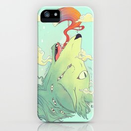 Howling Wolf With Ghost, Colorful Artwork iPhone Case
