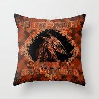 kitsune Throw Pillows featuring Kitsune by Carlo Spaziani