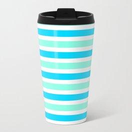 Cyan and Turquoise Stripes Travel Mug