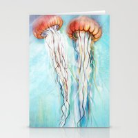 jelly fish Stationery Cards featuring Jelly Fish  by Felicia Atanasiu