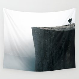 Norway Photography - The Pulpit Rock In The Fog Wall Tapestry