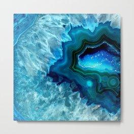 Teal Blue Agate II Metal Print