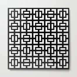 Modern geometric background black and white #society6 #decor #buyart #artprint Metal Print