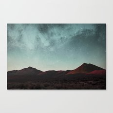 Universe above the mountain peaks Canvas Print