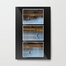 Gone Fishing Triptych Black Metal Print