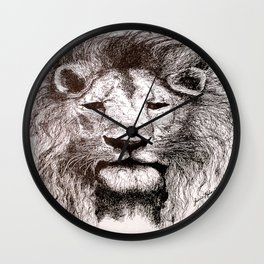 Lion Drawing Illustration Ink Black and White Wall Clock