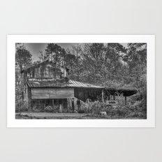 Old Barn in the Rain - Black & White Art Print