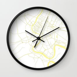 Bangkok Thailand Minimal Street Map - Pastel Yellow and White Wall Clock