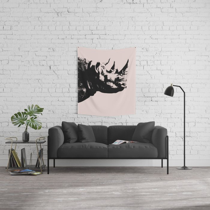Rhino in pink Wall Tapestry
