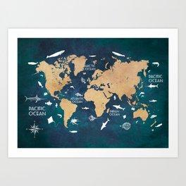 World Map Oceans Life blue #map #world Art Print
