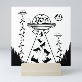 Alien cow abduction Mini Art Print
