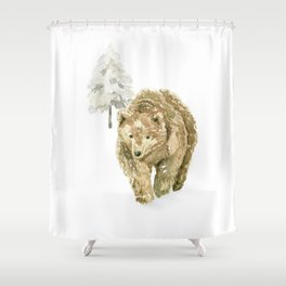 Bear in the winter forest Shower Curtain