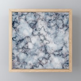Blue Grey and Rose Gold Veined Faux Marble Repeat Framed Mini Art Print