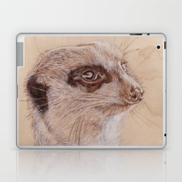 Meerkat Portrait - Drawing by Burning on Wood - Pyrography Art Laptop & iPad Skin