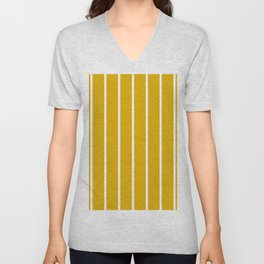 vertical stripes on mustard yellow Unisex V-Neck