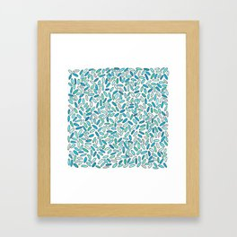 Blue, Aqua, Green and Silver Confetti Pattern Framed Art Print