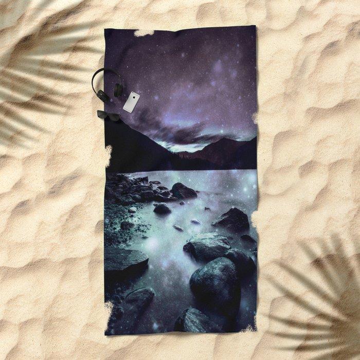 Magical Mountain Lake Dark Lavender Teal Beach Towel
