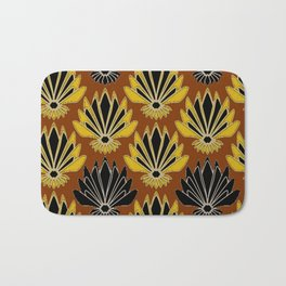 ART DECO YELLOW BLACK COFFEE BROWN AGAVE ABSTRACT Bath Mat