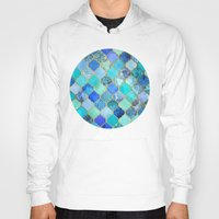 chic Hoodies featuring Cobalt Blue, Aqua & Gold Decorative Moroccan Tile Pattern by micklyn